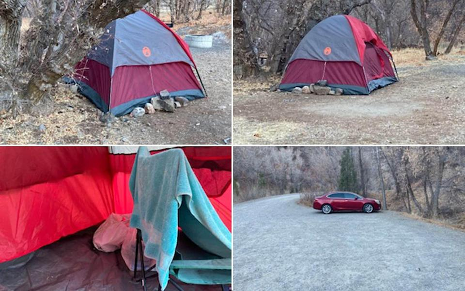 pictures of the tent and car used by the woman - UTAH COUNTY SHERIFF'S OFFICE