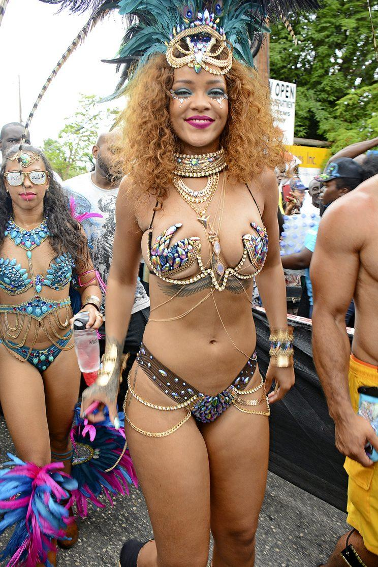 Rihanna proudly bared her bod at Barbados Carnival in 2015. (Photo: Sandy Pitt/Splash News)