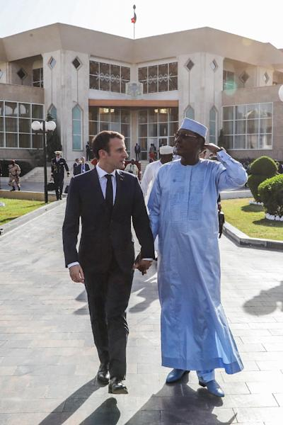 French president Emmanuel Macron criticised the US Syria pullout announcement during a visit to Chad's capital N'Djamena, alongside his Chadian counterpart Idriss Deby (AFP Photo/Ludovic MARIN)