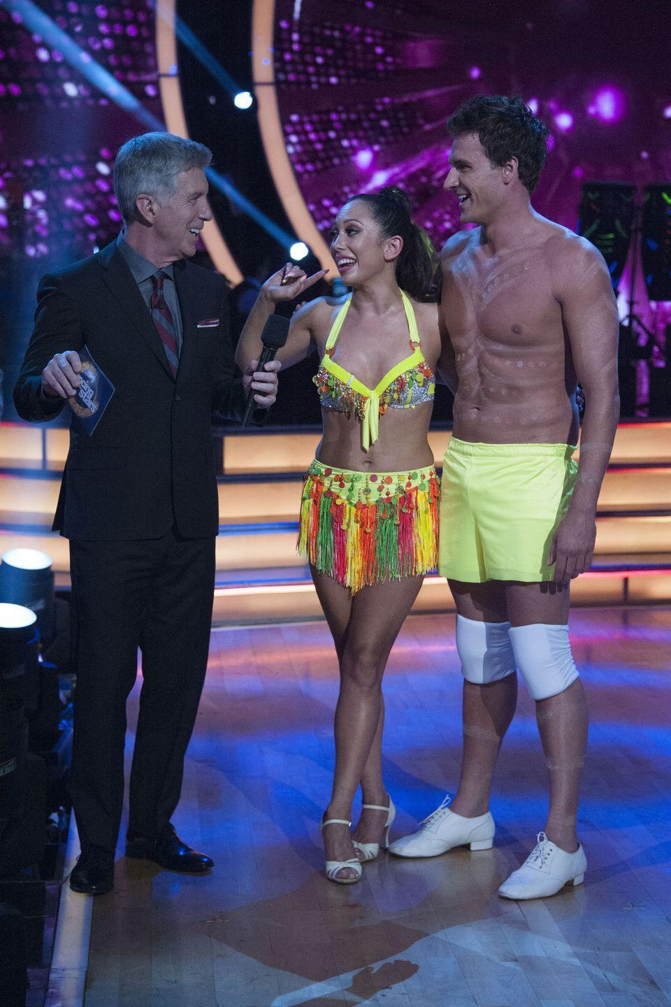 <p>The Olympic swimmer and his partner, Cheryl Burke, went all out for their glow-in-the-dark salsa. Ryan even ripped off his shirt and pants, exposing black-light paint and shorts. The judges loved the commitment, but those shorts were a <em>little </em>short for prime time if you ask me.</p>