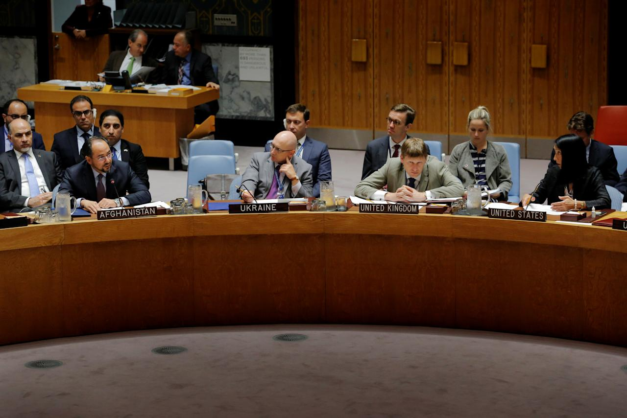 Salahuddin Rabbani (L), Minister of Foreign Affairs of Afghanistan, speaks at a meeting of the Security Council at the United Nations headquarters in New York, U.S., September 25, 2017. REUTERS/Lucas Jackson