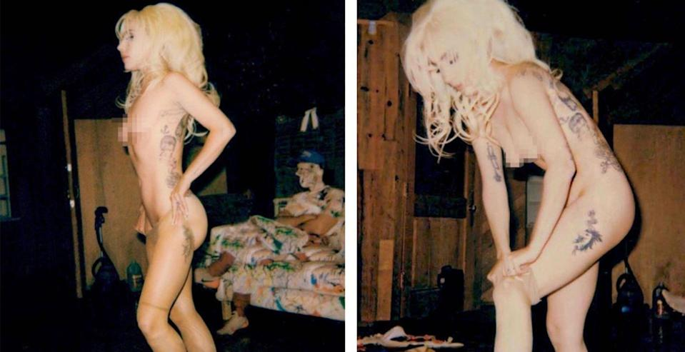 <p>Gaga took to Instagram to share a few scandalous pics. The shots, taken by photographer Eli Russell Linnetz, show the singer with large blonde hair, putting on stockings. Who knew getting dressed could look so good? </p>