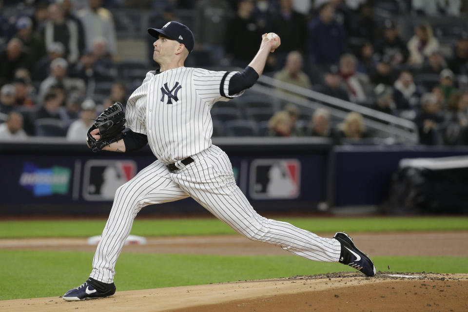 New York Yankees starting pitcher James Paxton delivers against the Minnesota Twins during the first inning of Game 1 of an American League Division Series baseball game, Friday, Oct. 4, 2019, in New York. (AP Photo/Seth Wenig)