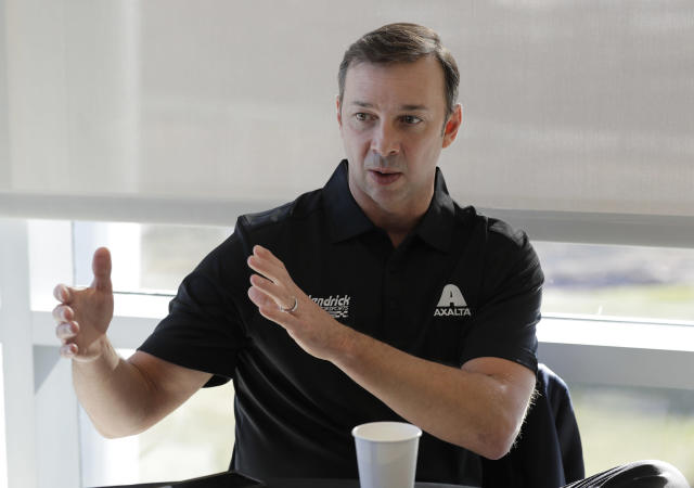 FILE - In this Jan. 22, 2019, file photo, Chad Knaus speaks during a media event in Concord, N.C. Knaus, the winningest crew chief in the garage, is essentially starting over. He goes to the Daytona 500 as crew chief for second-year driver William Byron tasked with rebuilding the famed No. 24 team Jeff Gordon led to four titles. (AP Photo/Chuck Burton, File)