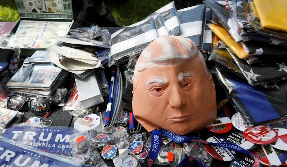 A Donald Trump mask sits on a vendor's table at the CPAC conference on Sunday. Photo: Reuters