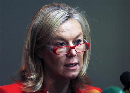 Sigrid Kaag speaks during a news conference in Damascus