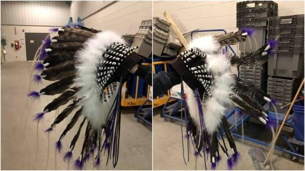 Myron May sent along this photo of the headdress in the Canada Post processing plant. The photo on the right shows the damaged side.