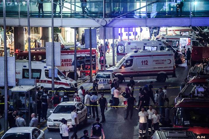 Emergency services at Istanbul's Ataturk airport following an attack that left at least 36 people dead (AFP Photo/Ozan Kose)