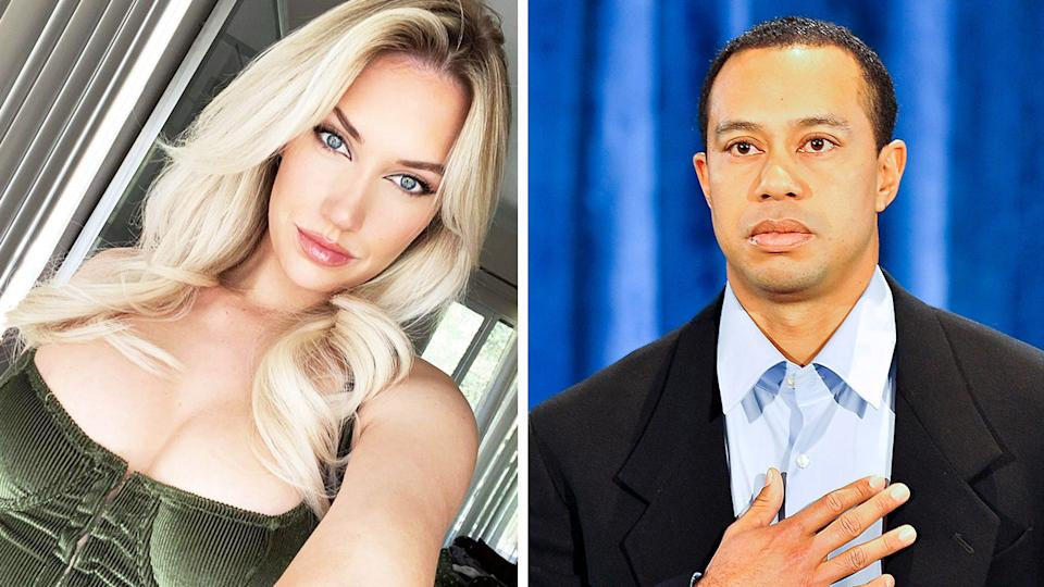 Instagram sensation Paige Spiranac (pictured left) taking a photo and Tiger Woods (pictured right) during a press conference.