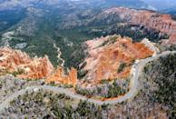 <p>Cars make their way across the winding road that goes through Bryce Canyon National Park, Utah // May 2, 2012 </p>