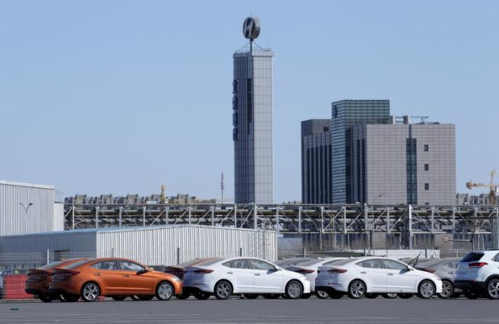 Hyundai cars are seen at a plant of Hyundai Motor Co on the outskirts of Beijing