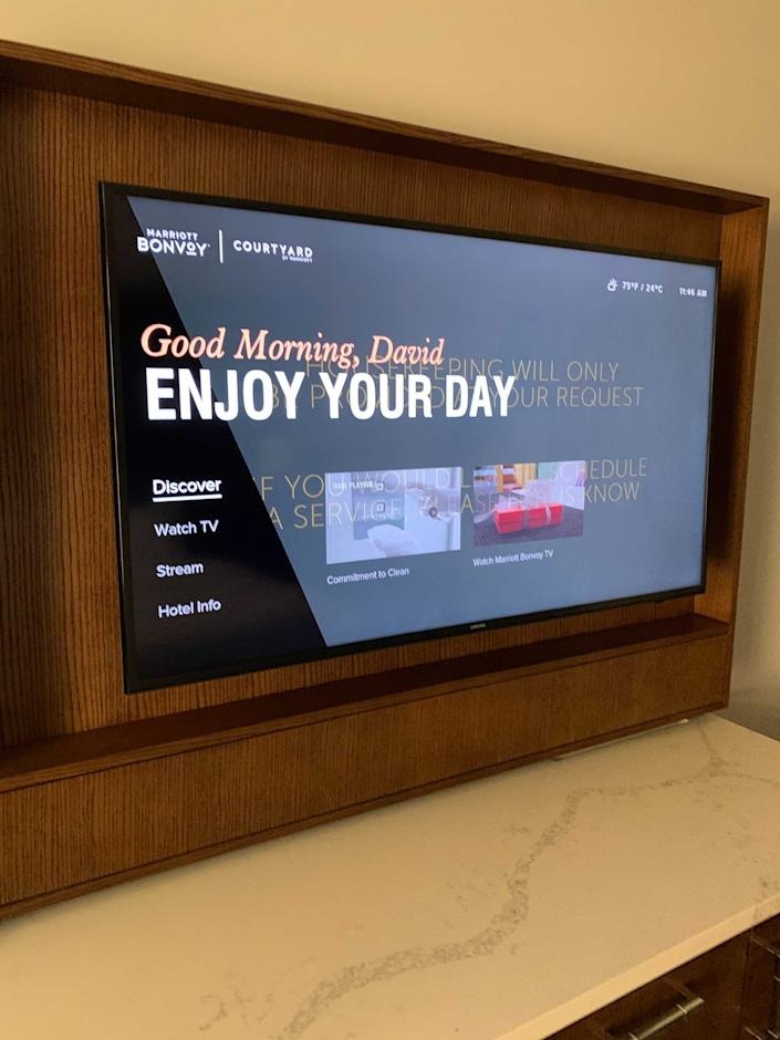 Loved this personal greeting from this Marriott hotel in Washington. The Hyatt I stayed at offered a similar one.