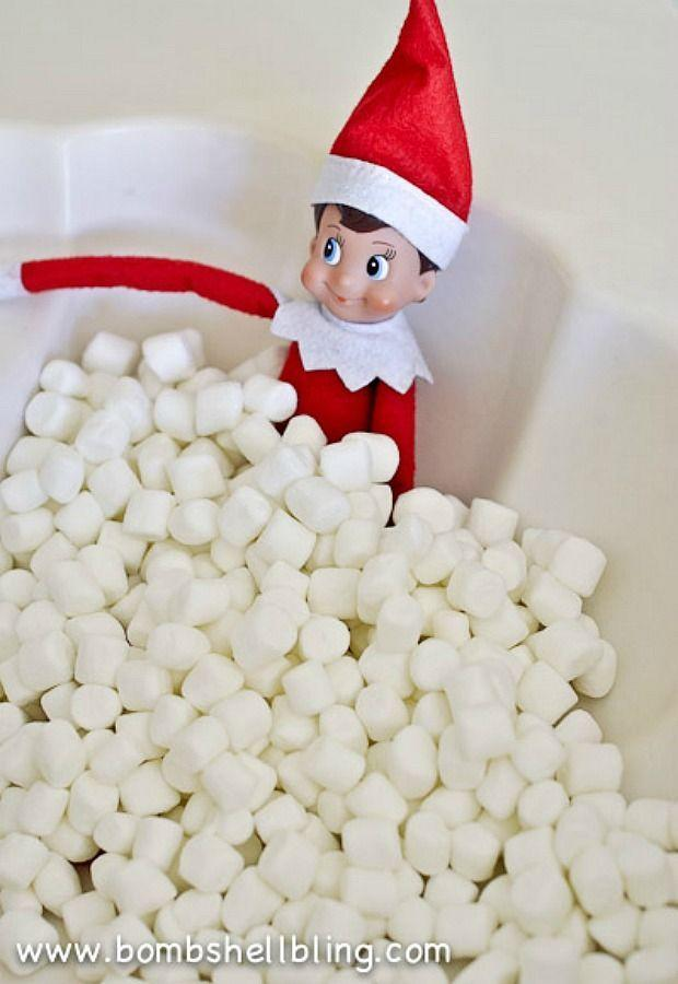 """<p>What could be more relaxing than a marshmallow jacuzzi? (Answer: Nothing.)</p><p><a href=""""http://www.bombshellbling.com/elf-shelf-ideas-using-marshmallows/"""" rel=""""nofollow noopener"""" target=""""_blank"""" data-ylk=""""slk:See more at Bombshell Bling »"""" class=""""link rapid-noclick-resp""""><em>See more at Bombshell Bling »</em></a><br></p>"""