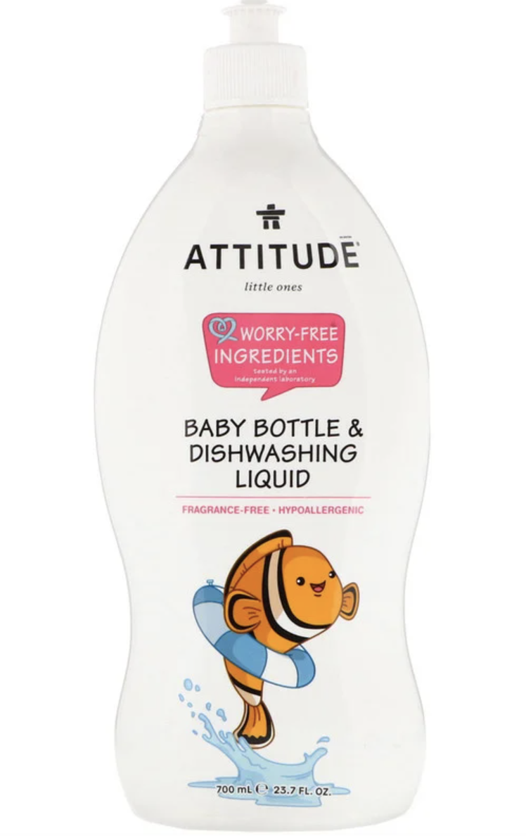 ATTITUDE, Little Ones, Baby Bottle & Dishwashing Liquid, Fragrance-Free. PHOTO: iHerb
