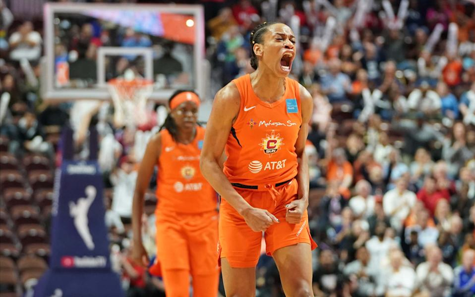 Oct 8, 2019; Uncasville, CT, USA; Connecticut Sun guard Jasmine Thomas (5) reacts after her basket against the Washington Mystics during the first quarter in game four of the 2019 WNBA Finals at Mohegan Sun Arena. Mandatory Credit: David Butler II-USA TODAY Sports