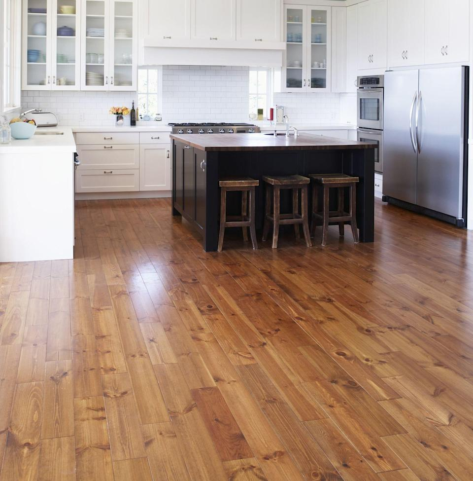 """<p>Are those beautiful <a href=""""https://www.housebeautiful.com/home-remodeling/a26683284/hardwood-floor-colors/"""" rel=""""nofollow noopener"""" target=""""_blank"""" data-ylk=""""slk:hardwood floors"""" class=""""link rapid-noclick-resp"""">hardwood floors</a> you invested in starting to look a bit dull? Whether it's time to deep clean some heavily stained <a href=""""https://www.housebeautiful.com/room-decorating/colors/g27561793/concrete-floor-ideas/"""" rel=""""nofollow noopener"""" target=""""_blank"""" data-ylk=""""slk:surfaces"""" class=""""link rapid-noclick-resp"""">surfaces</a> or you're just looking for the best product to maintain your <a href=""""https://www.housebeautiful.com/home-remodeling/renovation/a31444274/wood-flooring-types/"""" rel=""""nofollow noopener"""" target=""""_blank"""" data-ylk=""""slk:hardwood"""" class=""""link rapid-noclick-resp"""">hardwood</a> floors day-to-day, it's important to use the right ingredients and techniques. """"When you care for your hardwood floors properly, they'll last a lifetime,"""" says Erin Steinemann, <a href=""""https://www.homedepot.com/"""" rel=""""nofollow noopener"""" target=""""_blank"""" data-ylk=""""slk:The Home Depot"""" class=""""link rapid-noclick-resp"""">The Home Depot</a>'s cleaning merchant. </p>""""Whether for oak, pine, bamboo, or other wood, I recommend keeping the following schedule for optimal performance: Sweep, dust, or dry mop daily, vacuum weekly, and clean high-traffic areas with a damp mop twice a month,"""" she continues. Steinemann also advises cleaning with hardwood floor cleaner once a month, applying a fresh coat of finish every three to five years, and sanding and refinishing every ten years. Now that you know the prime cleaning schedule, let's talk supplies... Ahead, discover the ten best hardwood floor cleaners, form sustainable and eco-friendly options to convenient cleaner and mop bundles, and more. Ready, set, go put the gleam back into your hardwood floors. <br>"""