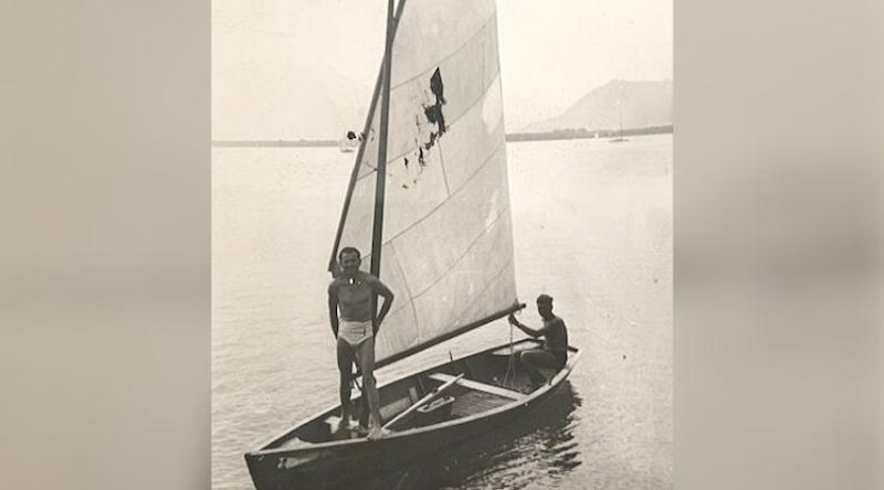 Alex Spilberg, right, sailing in Germany in 1946 or 1947 before moving to Canada. (Photo: Supplied)