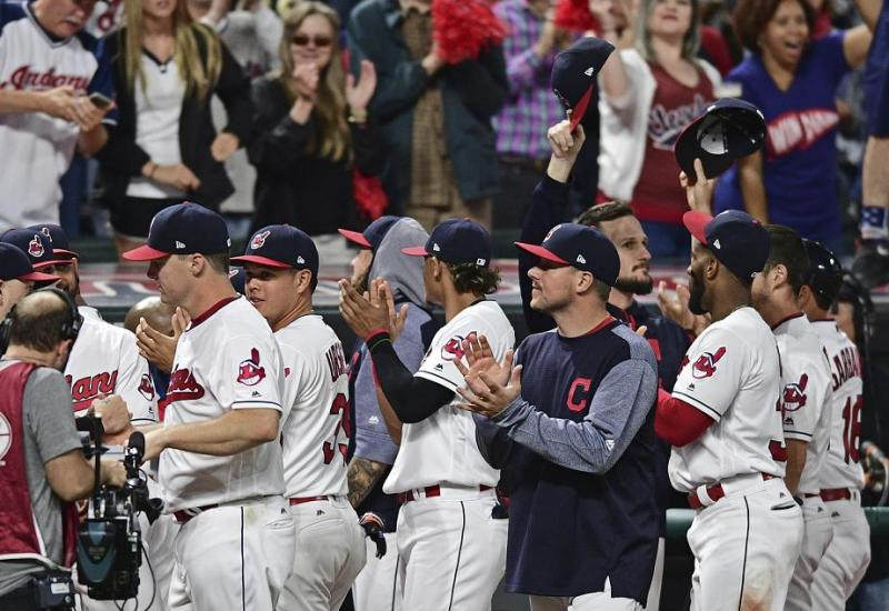Cleveland Indians players thank the fans moments after their 22-game winning streak came to an end. (AP)