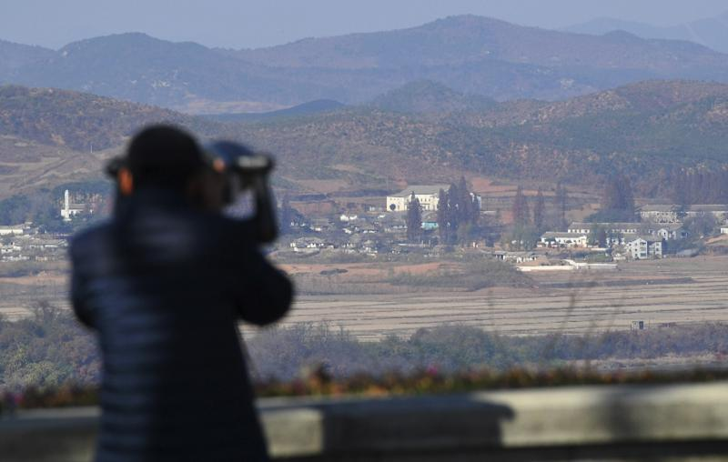 The view of North Korea from a South Korean observation post in Paju near the DMZ