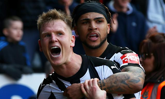 Matt Ritchie (left) celebrates with DeAndre Yedlin after putting Newcastle 2-1 up against Arsenal.