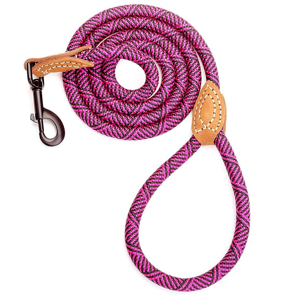 """<h3>Climbing-Rope Dog Leash</h3><p>This colorful dog lease isn't just chic, it's mountaineer-approved too — made from a durable tensile-strength rope for the most active dog and owner duos.</p><br><br><strong>Mile High Life</strong> Mountain Climbing Rope Dog Leash With Leather Handle, $9.99, available at <a href=""""https://www.amazon.com/dp/B072MTLR9R/ref=sspa_dk_detail_5"""" rel=""""nofollow noopener"""" target=""""_blank"""" data-ylk=""""slk:Amazon"""" class=""""link rapid-noclick-resp"""">Amazon</a>"""