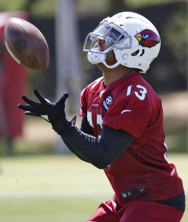 Arizona Cardinals' second-round draft pick Christian Kirk (13) runs drills during NFL football rookie camp Friday, May 11, 2018, in Tempe, Ariz. (AP Photo/Matt York