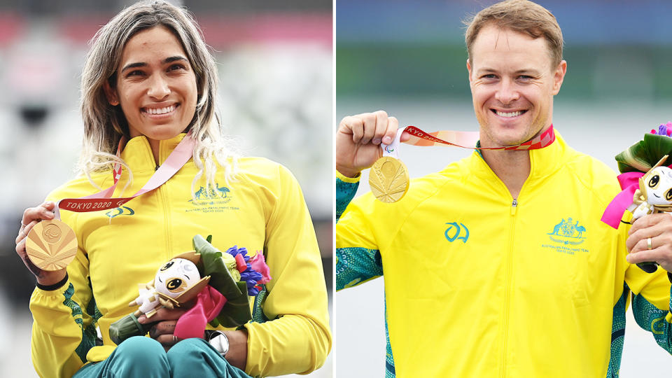 Madison de Rozario and Curtis McGrath, pictured here after winning gold at the Paralympics.