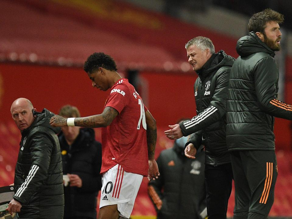 Marcus Rashford reacts to his substitution in Manchester United's win against Brighton (Getty Images)