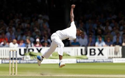 South Africa's Kagiso Rabada pitches a delivery during the first test between England and South Africa at Lord's - Credit: AP Photo/Matt Dunham