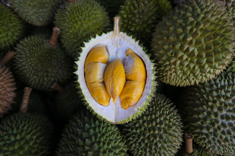 Durian fruits are displayed for sale at a roadside shop at Taman Medan in Petaling Jaya, June 24, 2021. — Picture by Yusof Mat Isa
