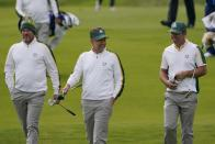 Team Europe's Lee Westwood, Team Europe's Paul Casey and Team Europe's Ian Poulter walk on the sixth hole during a practice day at the Ryder Cup at the Whistling Straits Golf Course Wednesday, Sept. 22, 2021, in Sheboygan, Wis. (AP Photo/Jeff Roberson)