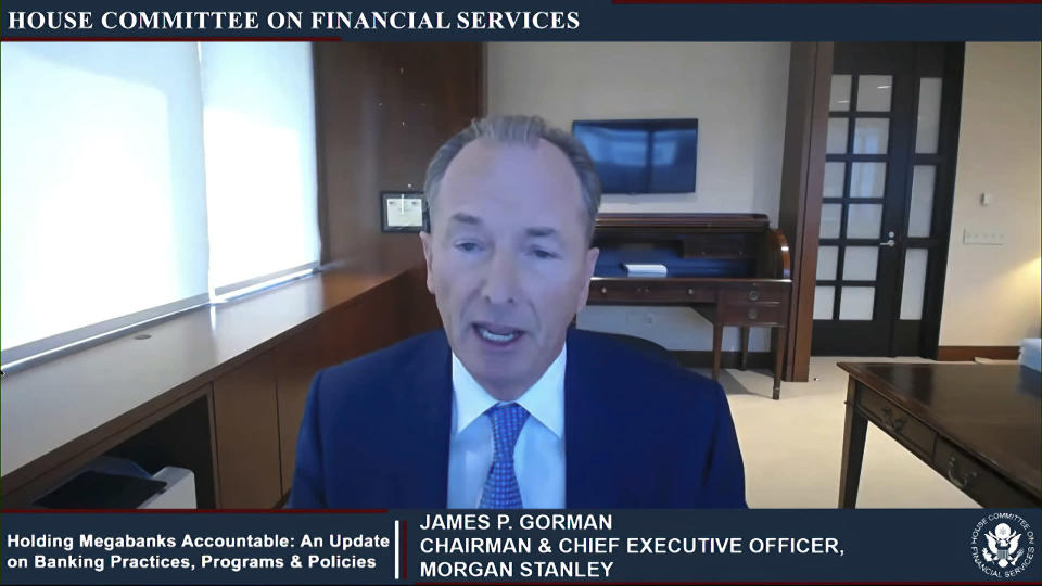 This image from video provided by the House Financial Services Committee shows Morgan Stanley CEO James Gorman testifying virtually to the House Financial Services Committee Thursday, May 27, 2021. (House Financial Services Committee via AP)