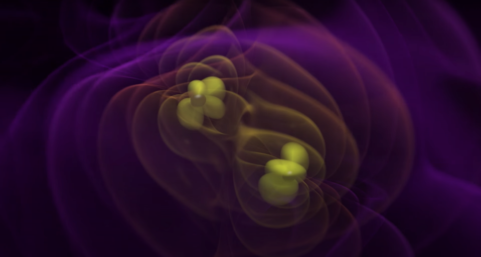 A visualization of two black holes merging and, subsequently, emitting ripples in the fabric of spacetime.