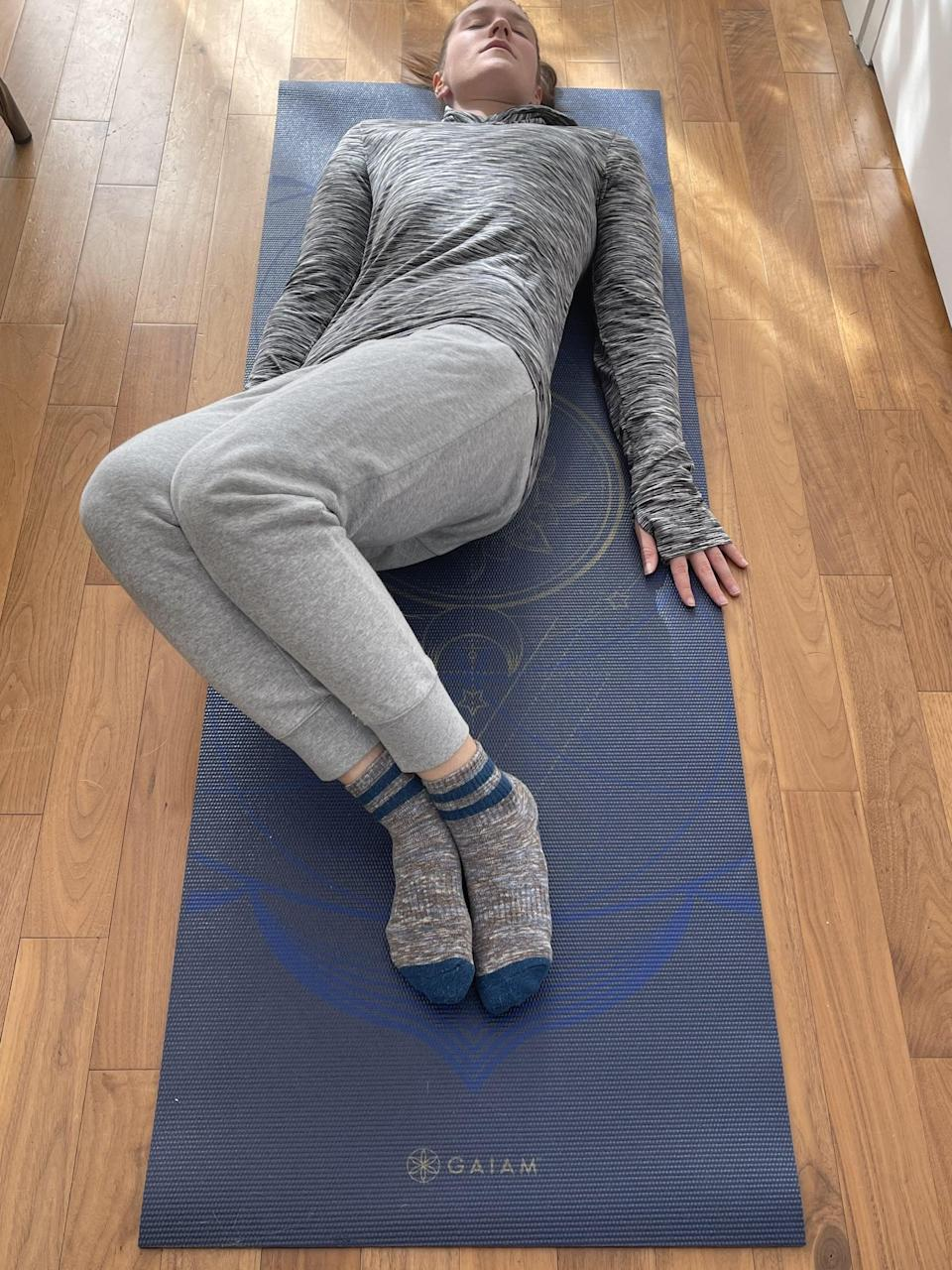 <p>This gentle stretch targets the lower back, Ribaudo said.</p> <ul> <li>Lying down on your back with your legs bent, feet flat on the floor, slowly let both legs fall to one side gently.</li> <li>Hold there for 10-15 seconds before slowly letting your legs fall to the other side. </li> <li>Repeat this three to five times on each side.</li> </ul>