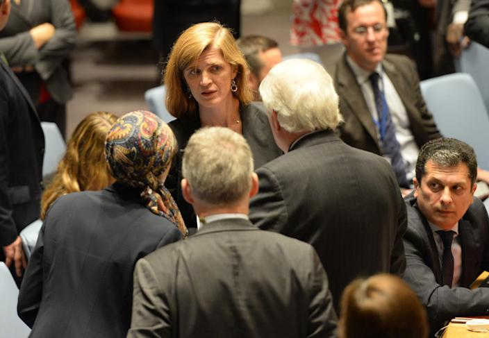 US Ambassador to the United Nations Samantha Power arrives at a Security Council Meeting on the situation in the Middle East on September 16, 2014 at the United Nations (AFP Photo/Timothy A. Clary)