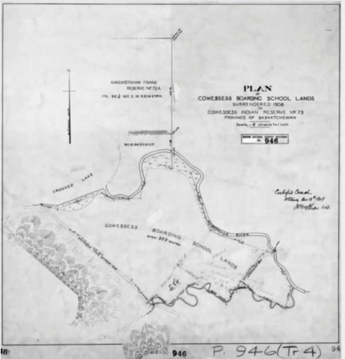 The area of the Marieval Indian Residential School is seen in an undated map on the Cowessess Reserve near Grayson