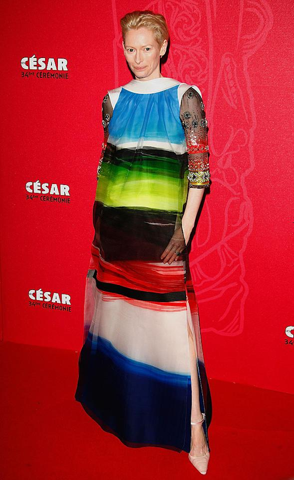 "Tilda Swinton strikes again at the Cesar Film Awards in this unsightly mess of a dress, courtesy of Christian Lacroix's couture line. Julien Hekimian/<a href=""http://www.wireimage.com"" target=""new"">WireImage.com</a> - February 27, 2009"