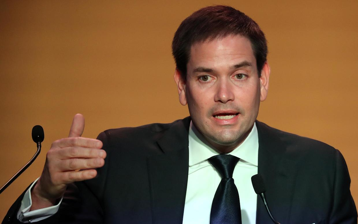 Marco Rubio made a terrible Super Bowl prediction, and then tweeted a video of himself doing it so he can never take it back. (REUTERS/Marcos Brindicci)