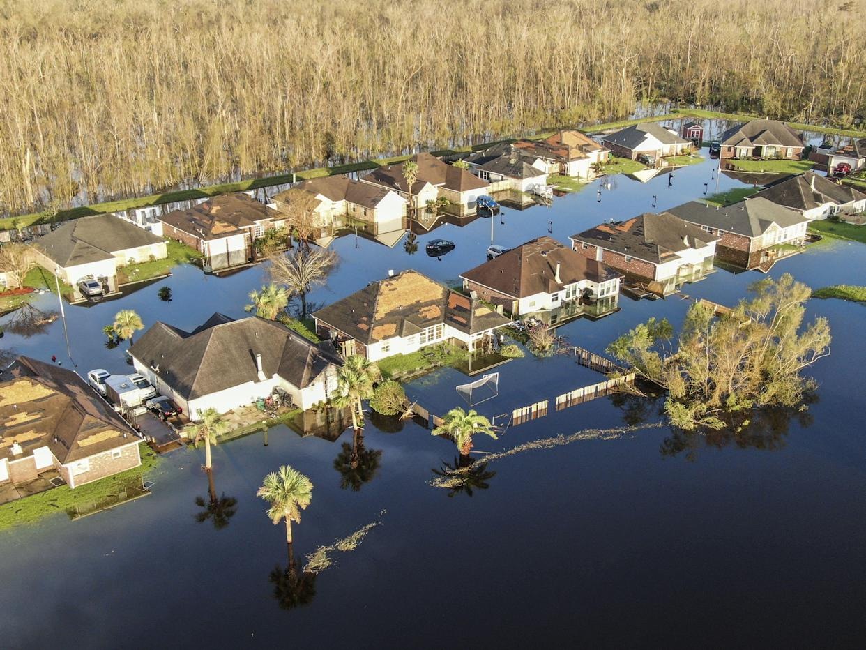 An aerial photo made with a drone shows damage caused by Hurricane Ida in La Place, Louisiana, USA, Tuesday. The Category 4 storm came ashore on 29 August causing heavy flooding, downing trees, and ripping off roofs. (Tannen Maury/EPA-EFE/Shutterstock)