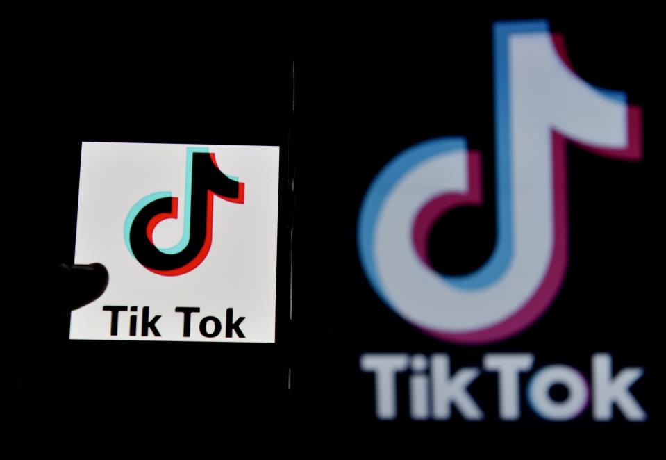 In this photo illustration, Tiktok app logo can be seen, Kolkata, India, 30 June, 2020. India bans 59 Chinese mobile apps including Tiktok and WeChat amid border crisis erupted between India and China, this month according to an Indian media report.   (Photo Illustration by Indranil Aditya/NurPhoto via Getty Images)