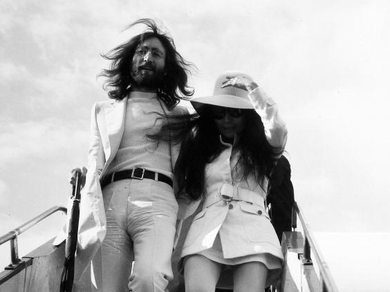 John Lennon and Yoko Ono arrive at London Airport in 1969 (Northcliffe Collection/ANL/Shutterstock)