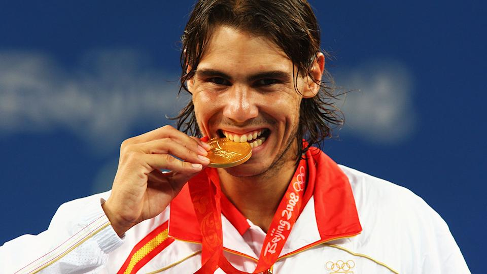 Rafael Nadal, pictured here after winning gold at the 2008 Olympics in Beijing.