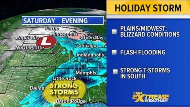 PHOTO: By Saturday the major Western storm is moving into the Central U.S. stretching from the Northern Plains to the Gulf Coast with heavy snow, heavy rain, and severe weather. (ABC News)