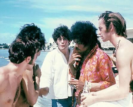 The Monkees and Jimi Hendrix on tour in 1967. (Photo: Micky Dolenz/Facebook)