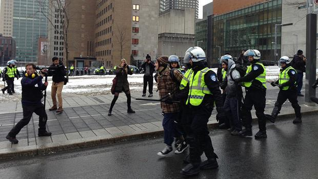 Police had already started to make arrests in downtown Montreal shortly after the protest started.