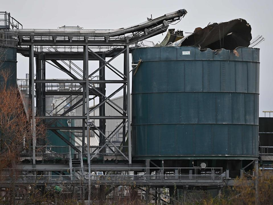 <p>A silo at the plant was damaged in the blast</p> (AFP via Getty Images)