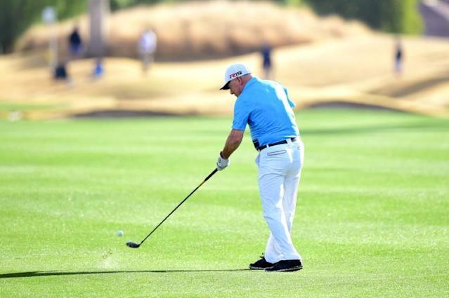 One-armed amateur golfer Laurent Hurtubise aced the 151-yard fourth hole at PGA West Stadium course in the first round of the US PGA American Express tournament (AFP Photo/Harry How)