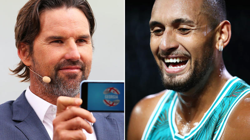 Pat Rafter and Nick Kyrgios, pictured here at the ATP Cup draw and Laver Cup.
