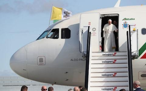 Pope Francis as he arrives at Dublin International Airport - Credit: Brian Lawless