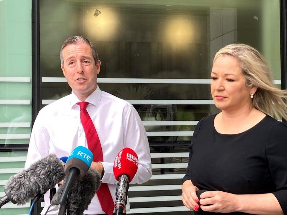 Northern Ireland's First Minister Paul Givan and deputy First Minister Michelle O'Neill said they would announce next steps shortly (Rebecca Black/PA) (PA Wire)